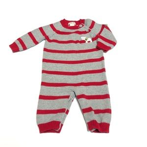 Red & Gray Sweater Striped Bodysuit Size 0-3 Month